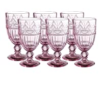 Colored Glass Goblet 11.5 oz Embossed Design Wedding Glass Set of 6 (Pink)