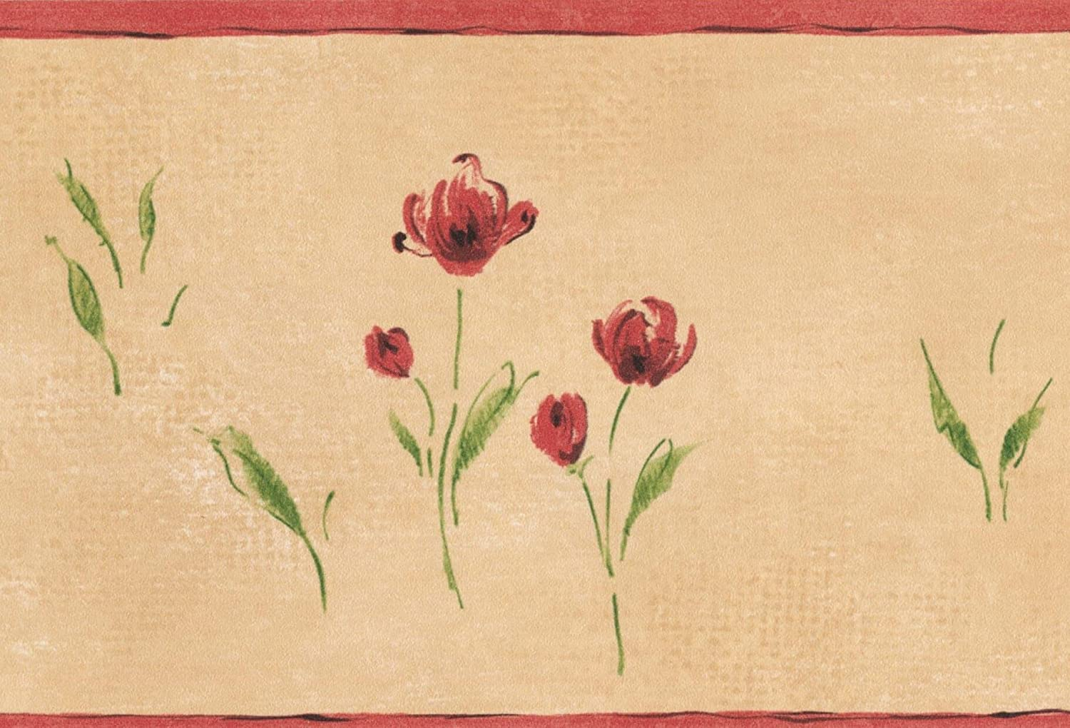 Red Meadow Flowers Beige Vintage Floral Wallpaper Border Retro