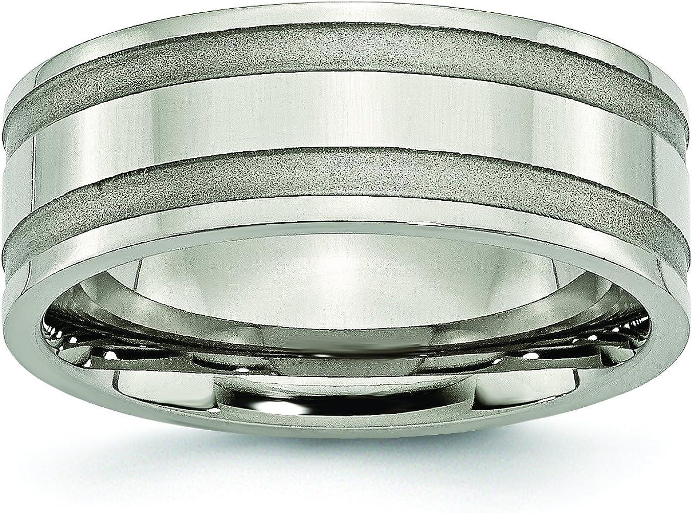 8mm High Polish Finish Grooved Designer Titanium Wedding Band