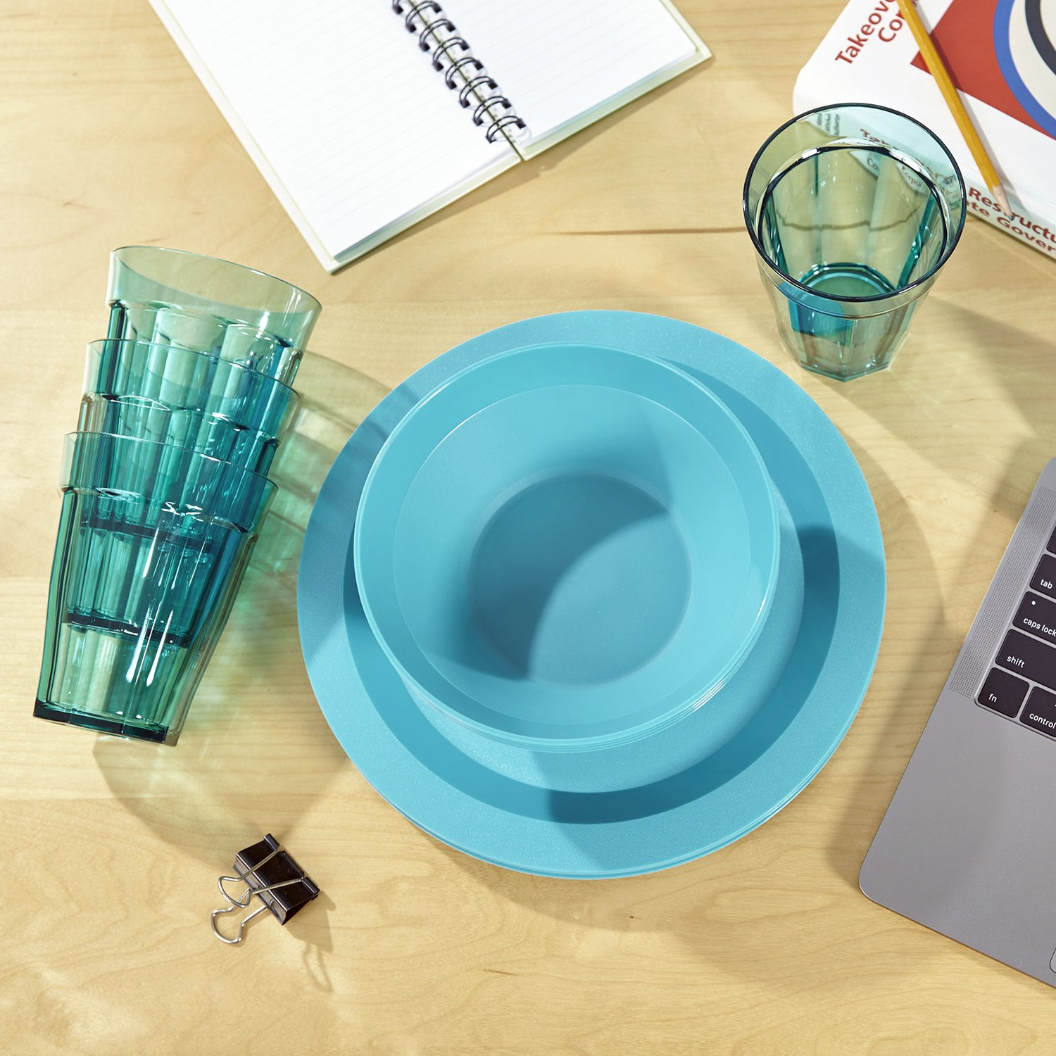 Cambridge Plastic Plate, Bowl and Tumbler Dinnerware | 12-piece set Teal by US Acrylic (Image #2)