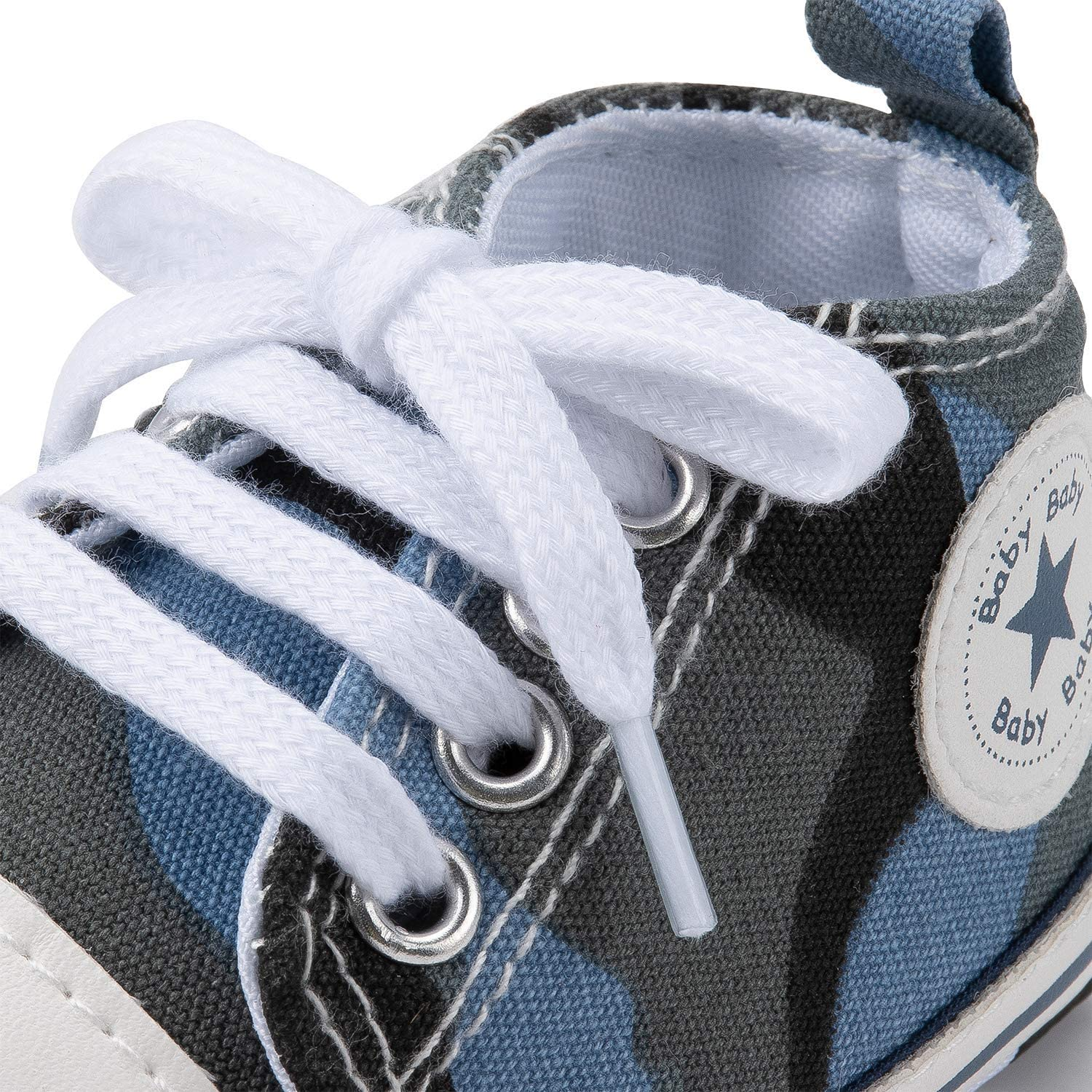 Isbasic Newborn Baby Boy Girl High Top Canvas Sneakers Toddler Non-Slip Soft Sole First Walkers Infant Denim Crib Shoes