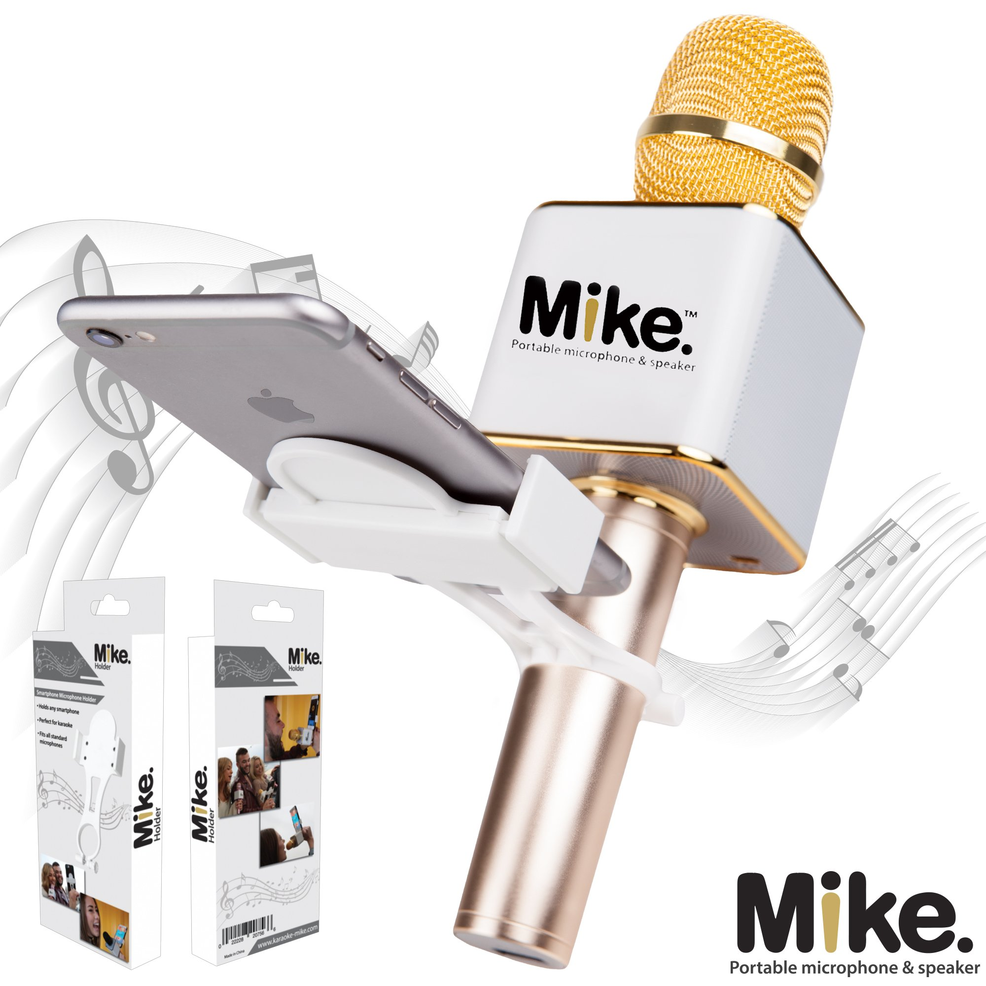 Karaoke-Mike Universal Microphone Cell Phone Holder: White Mount Clip Holder with Bracket For Q7, Q9, Handheld Wireless Microphones Just Add Summer