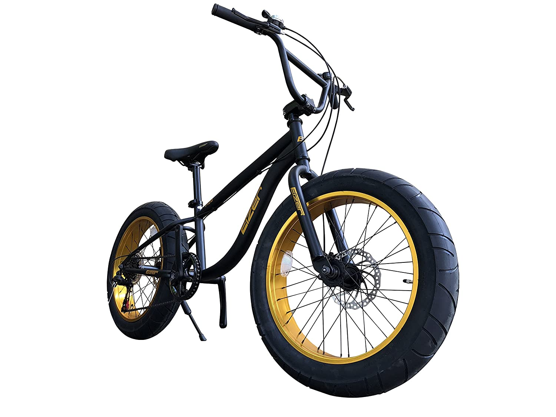Eizer(アイゼル) 【ファットバイク】迫力の極太 ファットバイク Wディスクブレーキ NEWゴールデンアルミホイール 3D立体フレーム Shimno7Speed 20インチ20x4.1/4 FATBIKE SNOWBIKE F120 ブラック 20インチ B07DX5VBYM