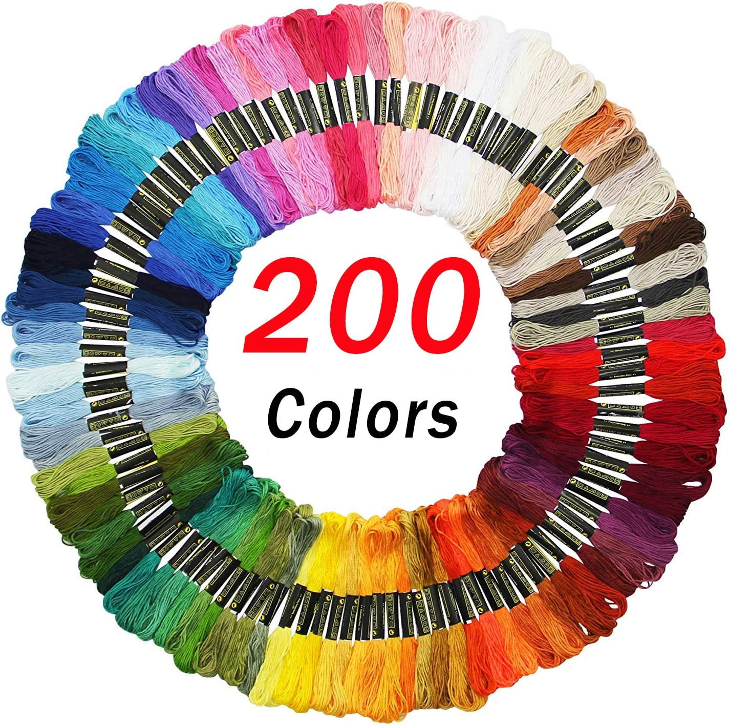 Premium Embroidery Floss Friendship Bracelet String 100 Skeins Rainbow Color Embroidery Threads Cross Stitch Threads Handmade Craft Floss with 6 Strands 8.75 Yard