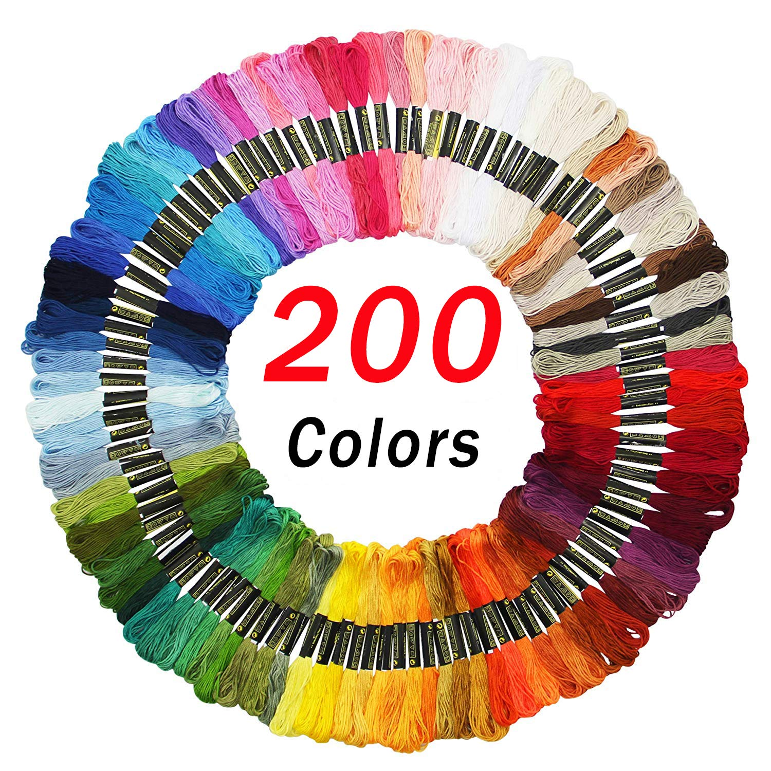 Embroidery Floss Friendship Bracelet String Cross Stitch Threads with DMC Color Numbers, 6 Strands 8.75 Yard (200 skeins) by Jyukan