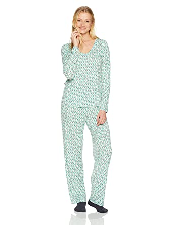1d8149ad5ceffa HUE Women's Mini Character Printed Rayon Tee and Pant 3 Piece Pajama Set,  Aquamarine/