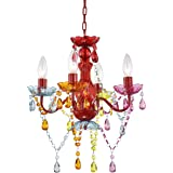 Mini Chandelier Crystal Chandelier Lighting Red Chandeliers Small 4 Light Chandelier with Multicolor Acrylic Crystals…