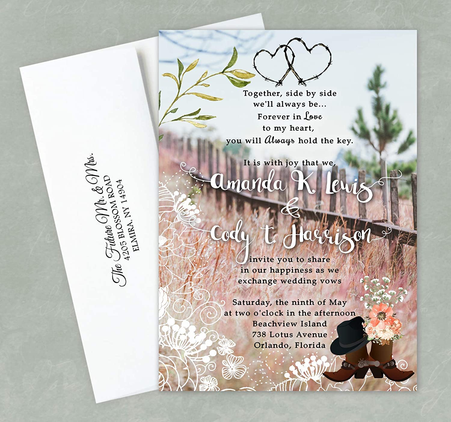 50 Western Silhouette Invitations for Weddings or any Occasion Customized for You