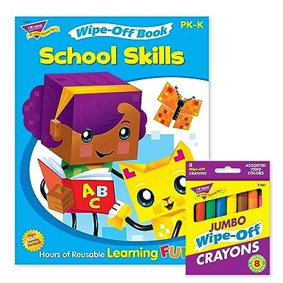TREND enterprises, Inc. School Skills Reusable Book & Crayons: Toys & Games