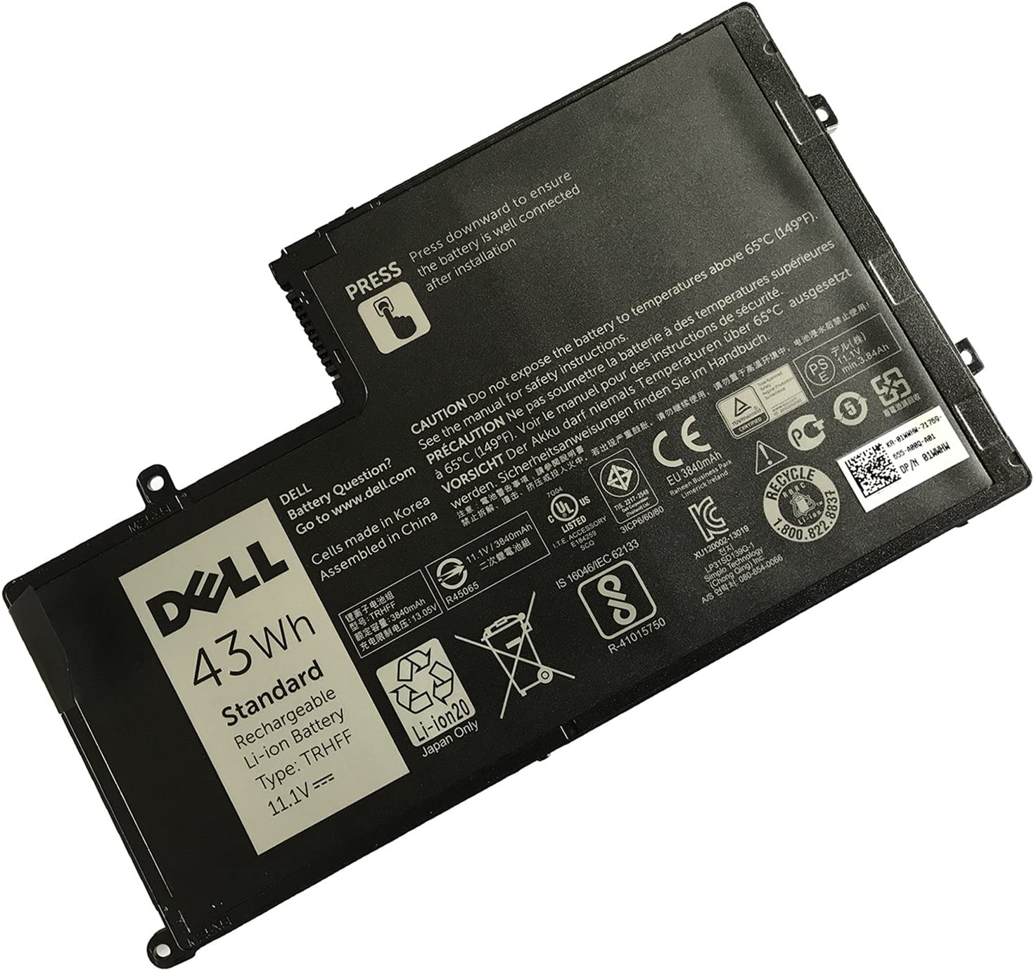 Dell TRHFF Notebook Battery 11.1V 43WH for DELL Inspiron 14 5447 15 5547 DELL Latitude 3450 3550 Also be Compatible with OPD19 (7.6V 58WH) Best OEM Quality