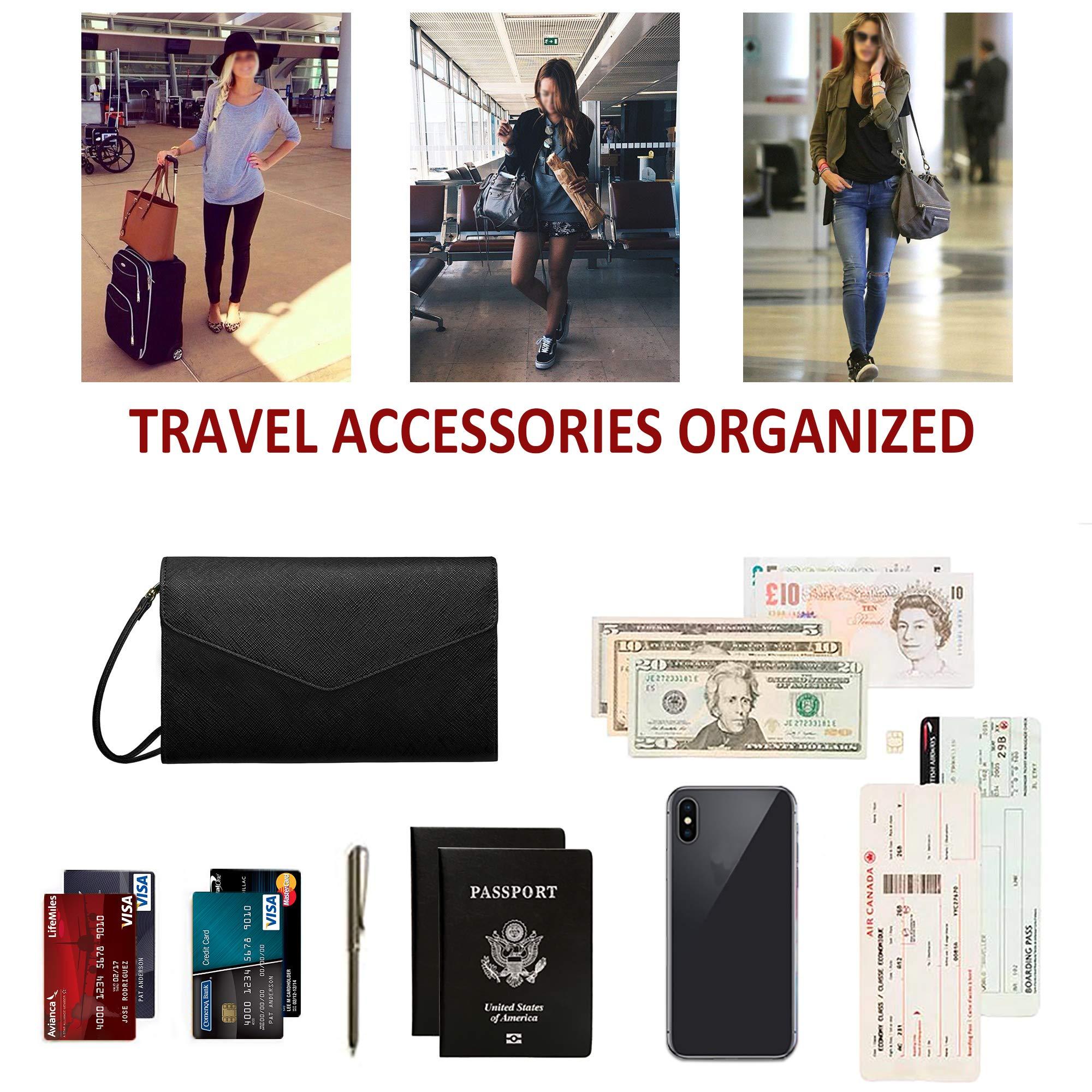 Krosslon Travel Passport Wallet for Women Rfid Wristlet Slim Family Document Holder, 1# Black by KROSSLON (Image #6)