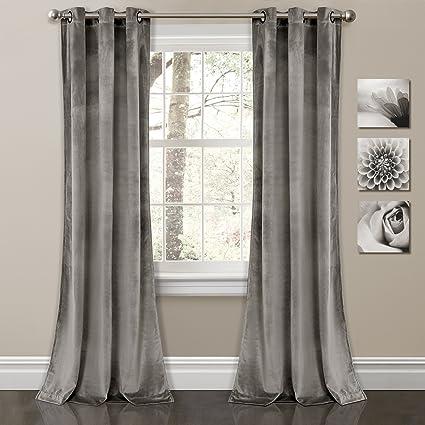 Lush Decor Prima Velvet Curtains Solid Color Room Darkening Window Panel  Set for Living, Dining, Bedroom (Pair), 84\