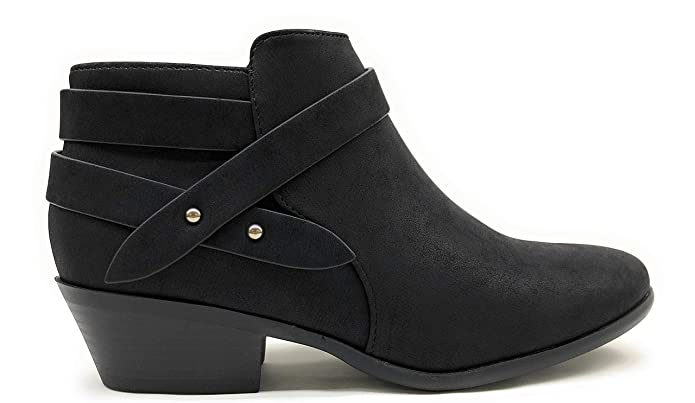 SODA Women's Perforated Cut Out Stacked Block Heel Ankle Booties (9 B(M) US, Black NBPU Sweeten)