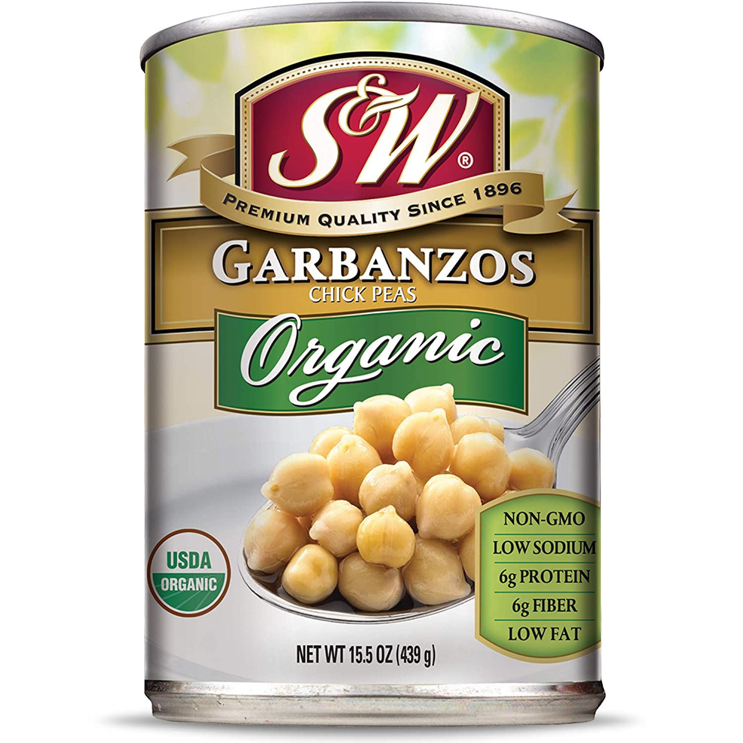 S&W - Organic Garbanzo Beans - Chickpeas - 15.5 Oz. Can (Pack Of 8)