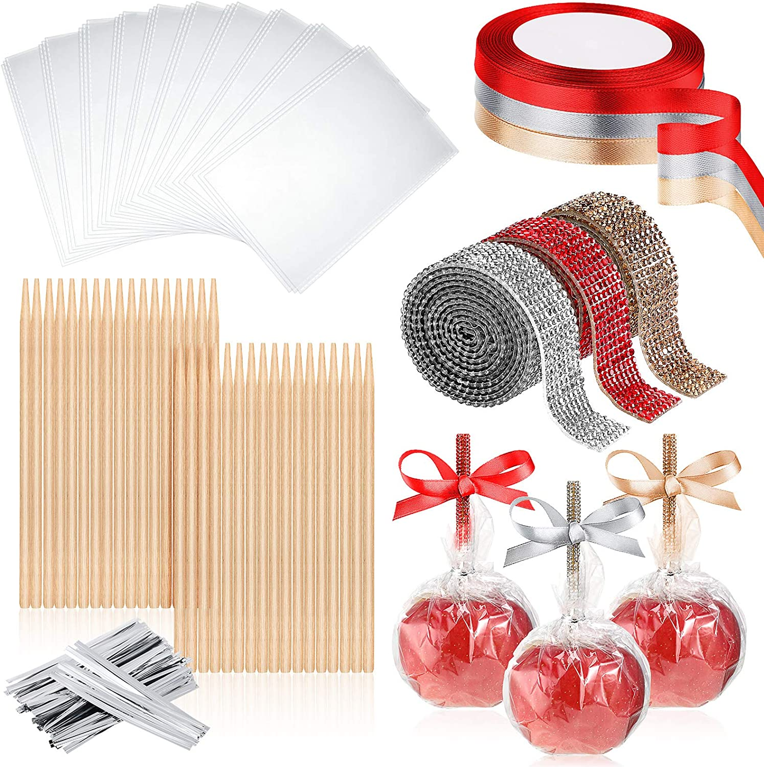 166 Pieces Bamboo Sticks Set 30 Pieces 5.5 Inch Candy Fruit Skewer Sticks, 30 Pieces Candy Cellophane Treat Bags, 3 Rolls Bling Rhinestone Stickers, 3 Rolls Satin Ribbon and Silver Twist Ties