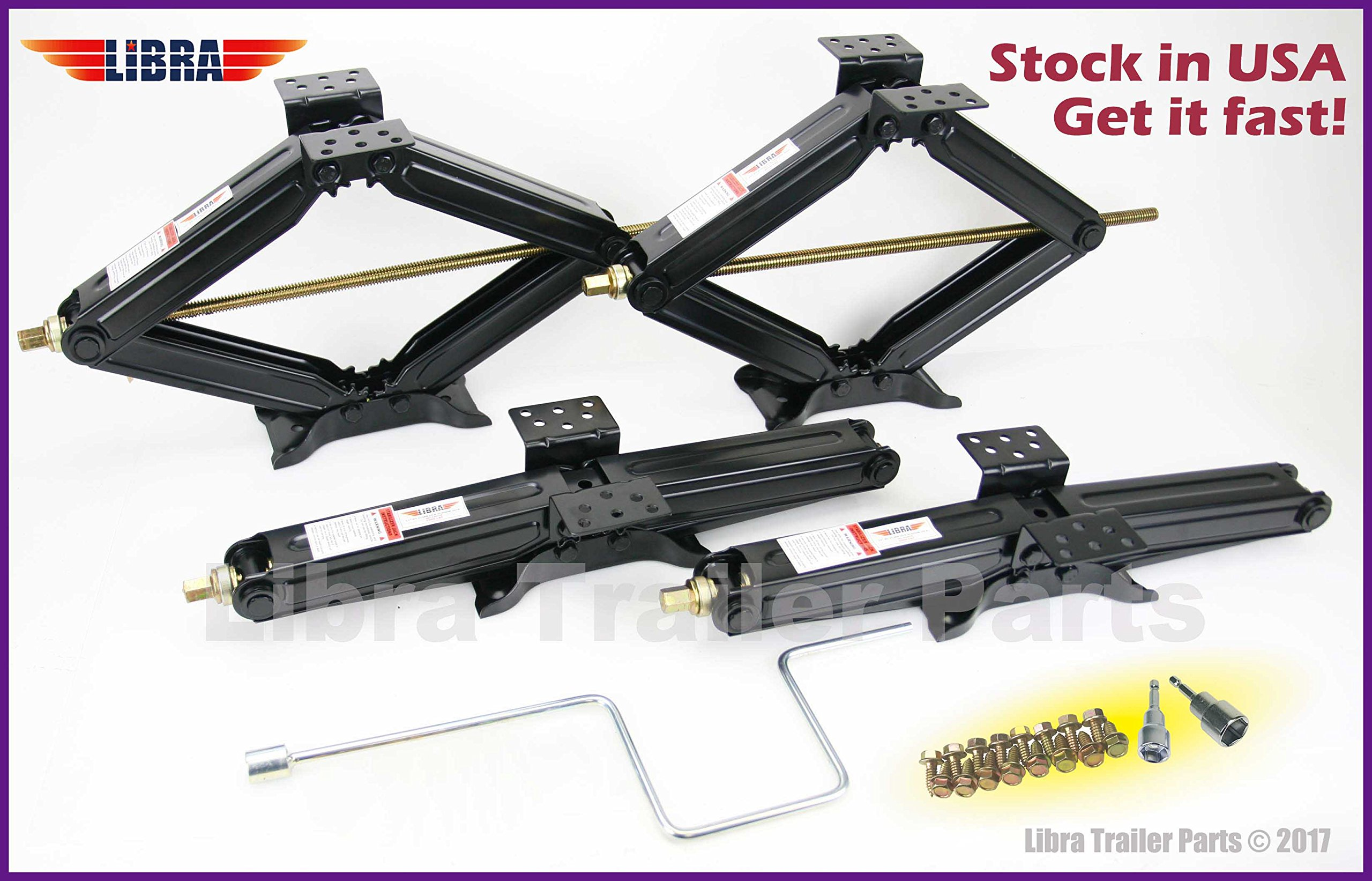 Set of 4 5000 lb 24'' RV Trailer Stabilizer Leveling Scissor Jacks w/handle & Power Drill Socket -Model# 26020