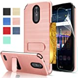 LG Stylo 3 Phone Case, LG Stylo 3 Case, LG Stylo 3 Plus Case, LG Stylus 3 case with HD Screen Protector,AnoKe[Card Slots Holder][Not Wallet] Plastic TPU Hybrid Shockproof for LG LS777 KC1 Rose Gold
