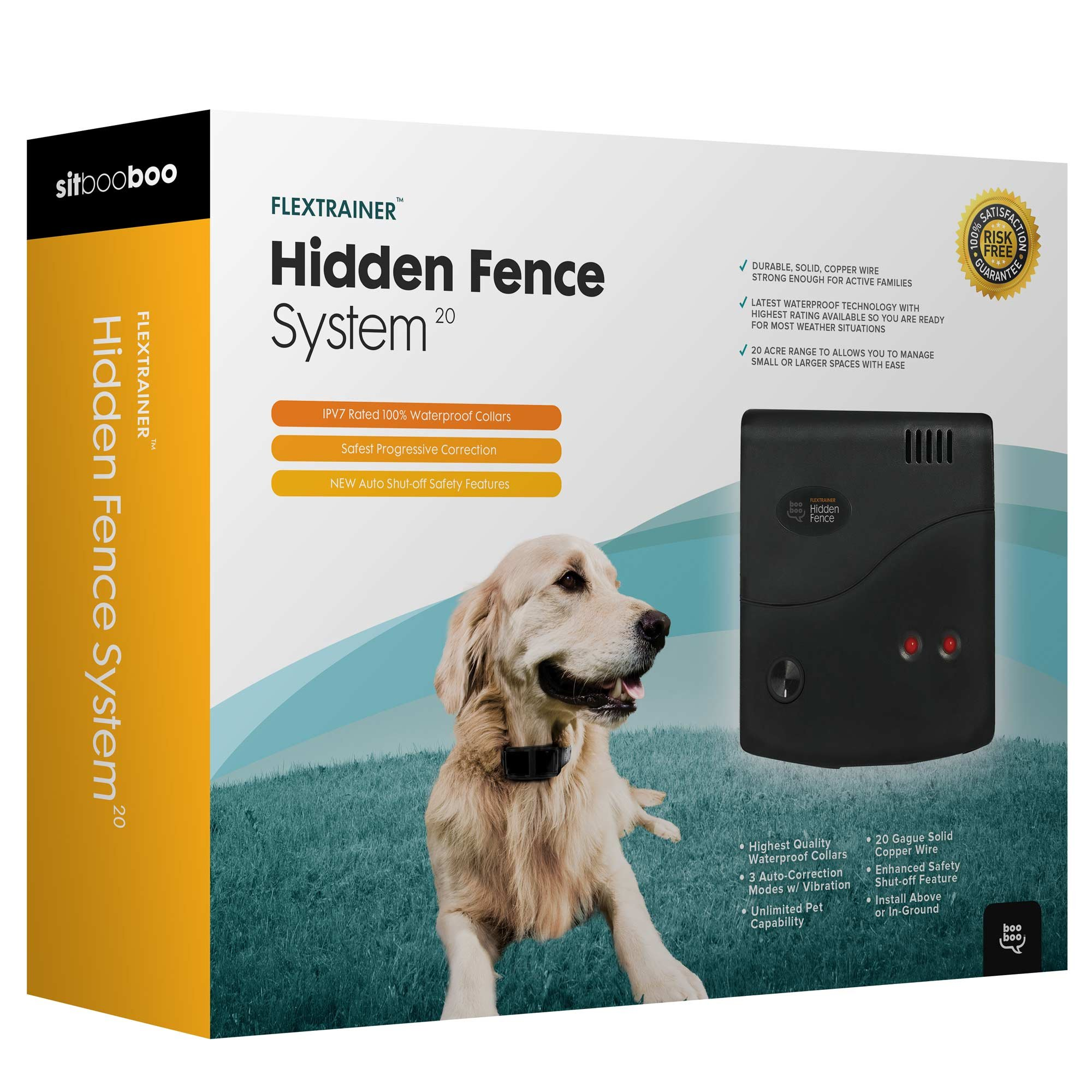 Sit Boo-Boo Advanced In-Ground Electric Dog Fence System, 20 Acre Range inc. 500ft Solid Copper Boundary Wire, 100% Waterproof & Rechargeable, Beep/Vibration/Shock, 8-100 lbs, Single Collar