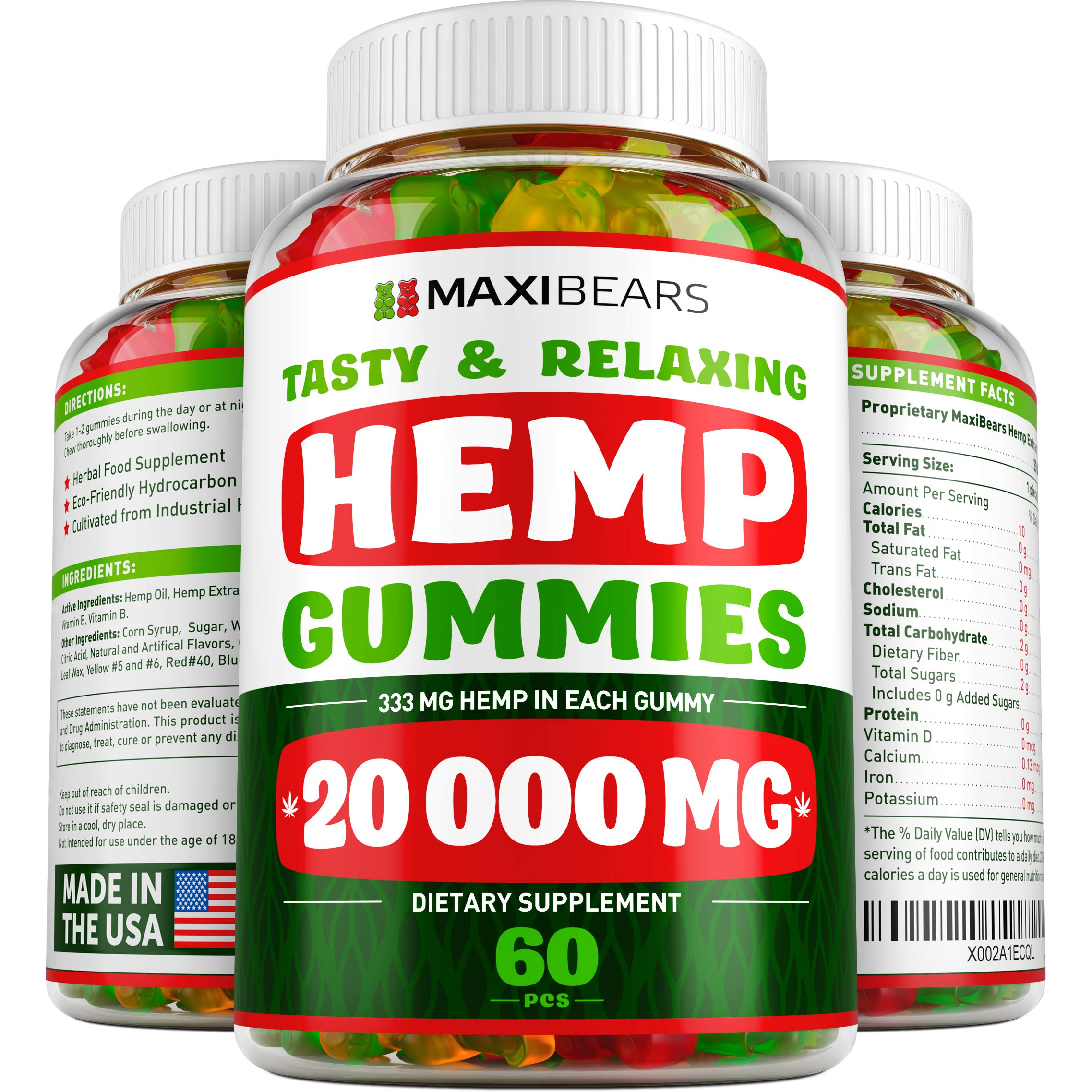 Hemp Gummies - 20000 MG - 333 MG per Gummy - Pain, Stress, Insomnia & Anxiety Relief - Made in USA - Tasty & Relaxing Herbal Gummies - Premium Extract - Mood & Immune Support by Maxibears