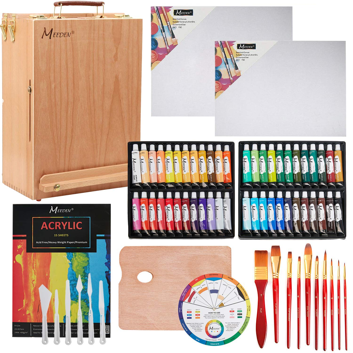 MEEDEN 70-Piece Premium Acrylic Painting Set - Solid Beech Wood Easel box, 48 Colors Acrylic Paint (22ml) and All The Additional Supplies, Perfect Gifts for Beginning Artists, Students and Kids by MEEDEN