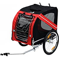 PawHut Pet Trailer Bike Bicycle Dog Cat Carrier w/Drawbar Hitch