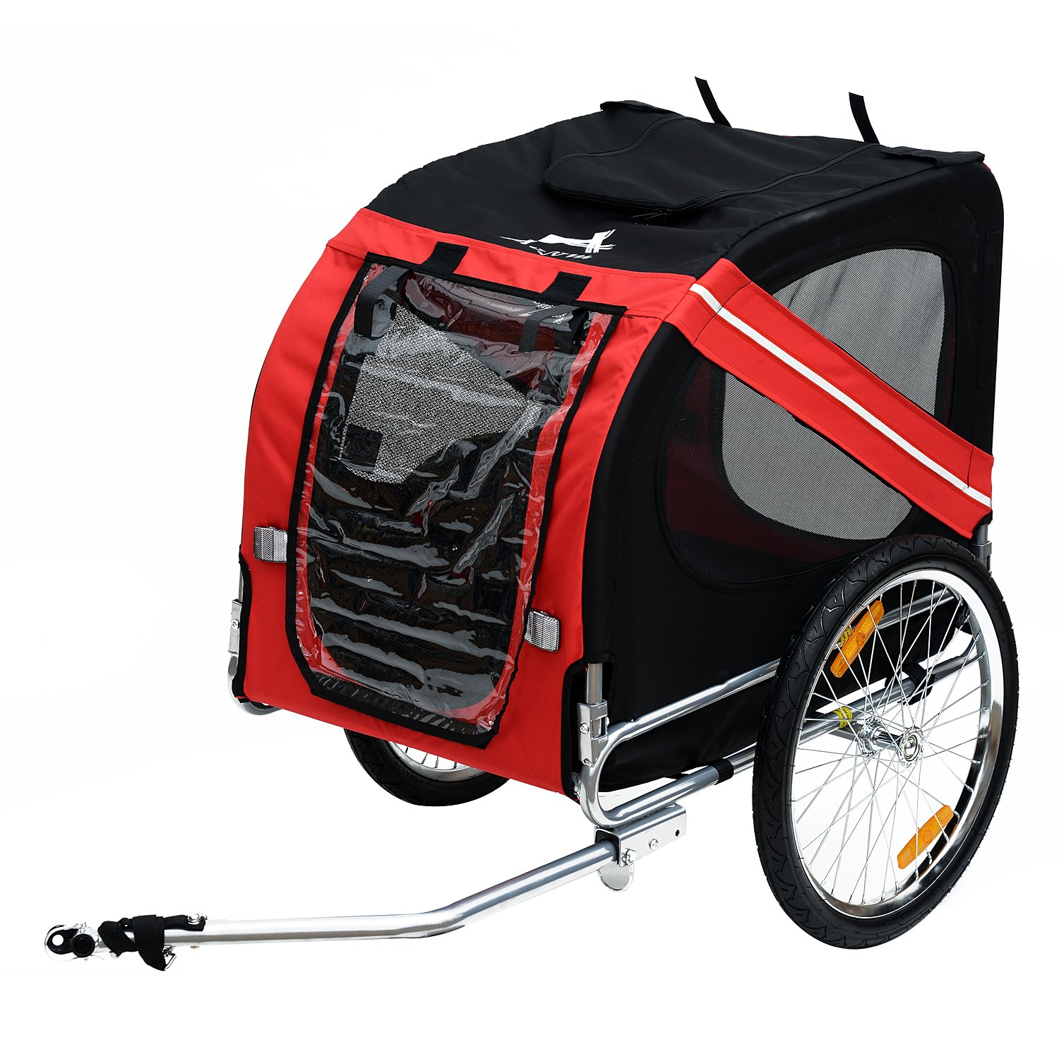PawHut Pet Trailer Bike Bicycle Dog Cat Carrier w Drawbar Hitch