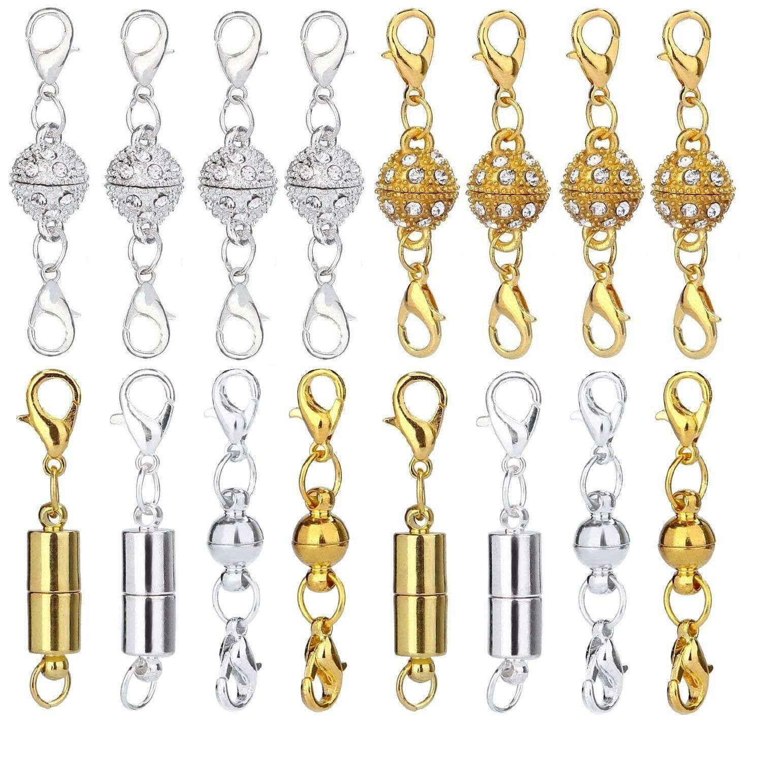 Cylindrical and Ball Tone Lobster Clasp Rhinestone Ball Style Silver and Gold Keadic 12 Pieces 3 Styles Gifts Magnetic Lobster Clasps with Spring Ring for Jewelry Necklace Bracelet