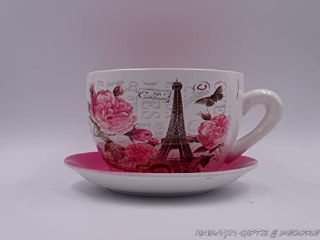 Delightful Paris Themed Teacup Shaped Planter With PINK Saucer Decorative Shabby Chic  Ceramic Showpiece Amazon Com Idea