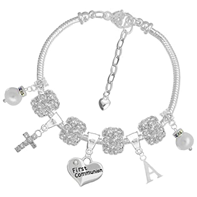 95999cb9d2875f Girls Personalised First Holy Communion Charm Bracelet Name Initial Letter  ' ...