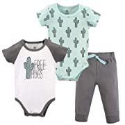 Yoga Sprout Baby Bodysuit and Pant 3 Piece Set, Free Hugs, 0-3 Months (3M)