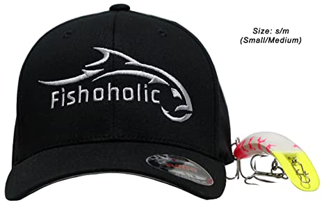 Fishoholic Baseball Fishing Hat ~ 6 Colors   3 Sizes. Angry Fish Logo on  Trucker 495739beb5d