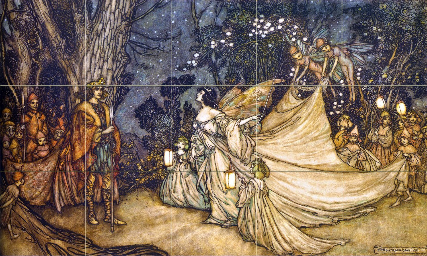Midsummer Night's Dream in the Forest by Arthur Rackham Tile Mural Kitchen Bathroom Wall Backsplash Behind Stove Range Sink Splashback 5x3 4'' Marble, Matte