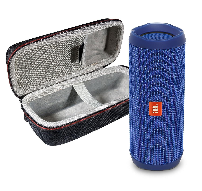 JBL Flip 4 Portable Bluetooth Wireless Speaker Bundle with Protective Travel Case - Blue FLIP4-Blue&PortableHardshellCase