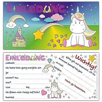 12 Einhorn Einladungskarten Im Set Susse Karte Mit Niedlichem