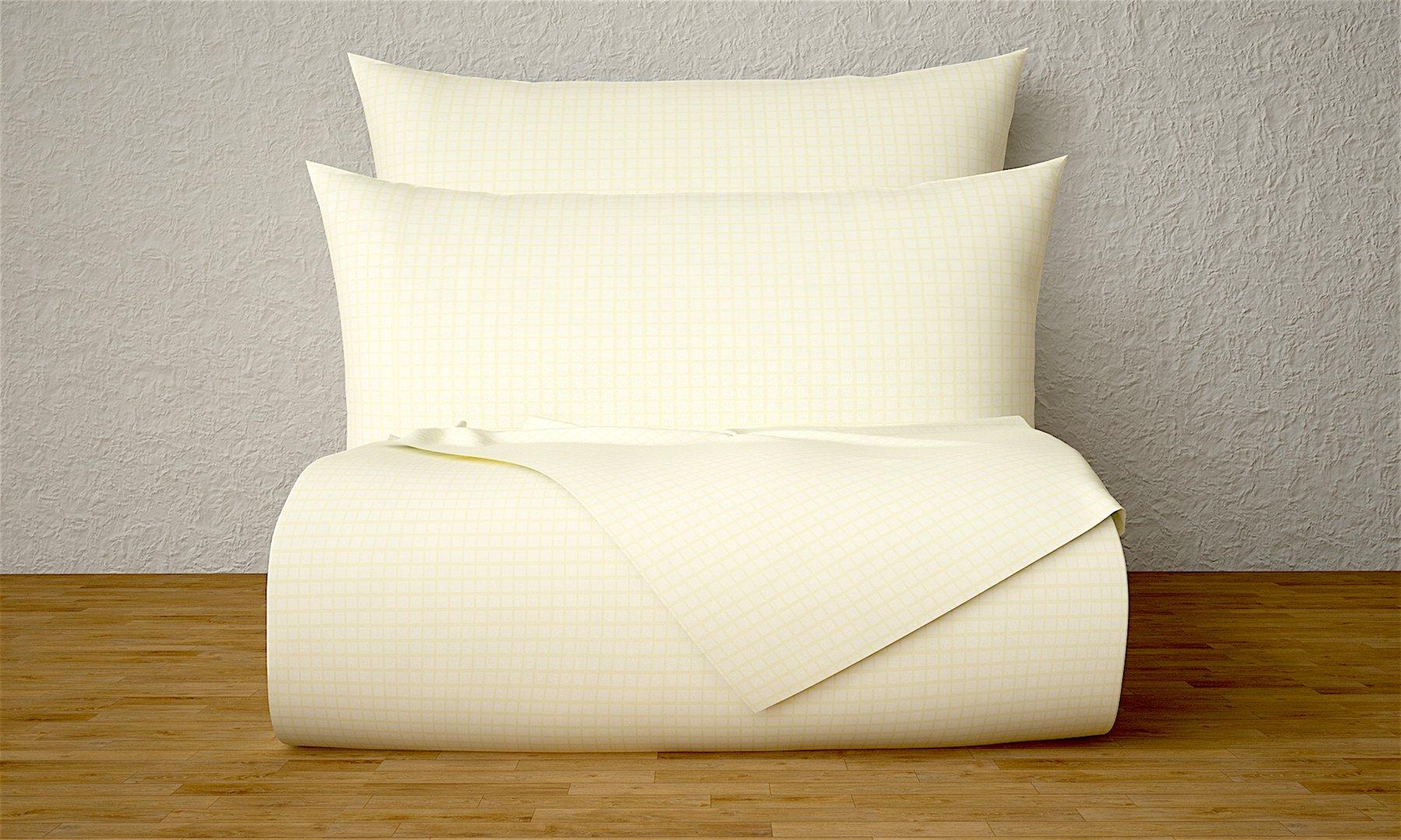 Livingston Home Xara Luxury 33227 3 Piece Window Pane 1800 Series Printed Cotton Essential Embossed Tone on Tone Bed Sheet Set, Twin, Cream