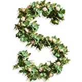 Eucalyptus Garland with Flowers - 17 Ivory Roses - Lush, Natural Looking Eucalyptus and Flower Garland Decor, Floral Garland