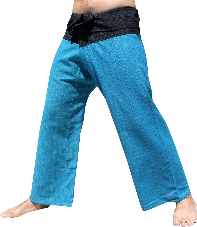 Raan Pah Muang RaanPahMuang Striped Summer Cotton Two Toned Thailand Fisherman Wrap Pants Medium Black - Sea Blue item762930AMZ