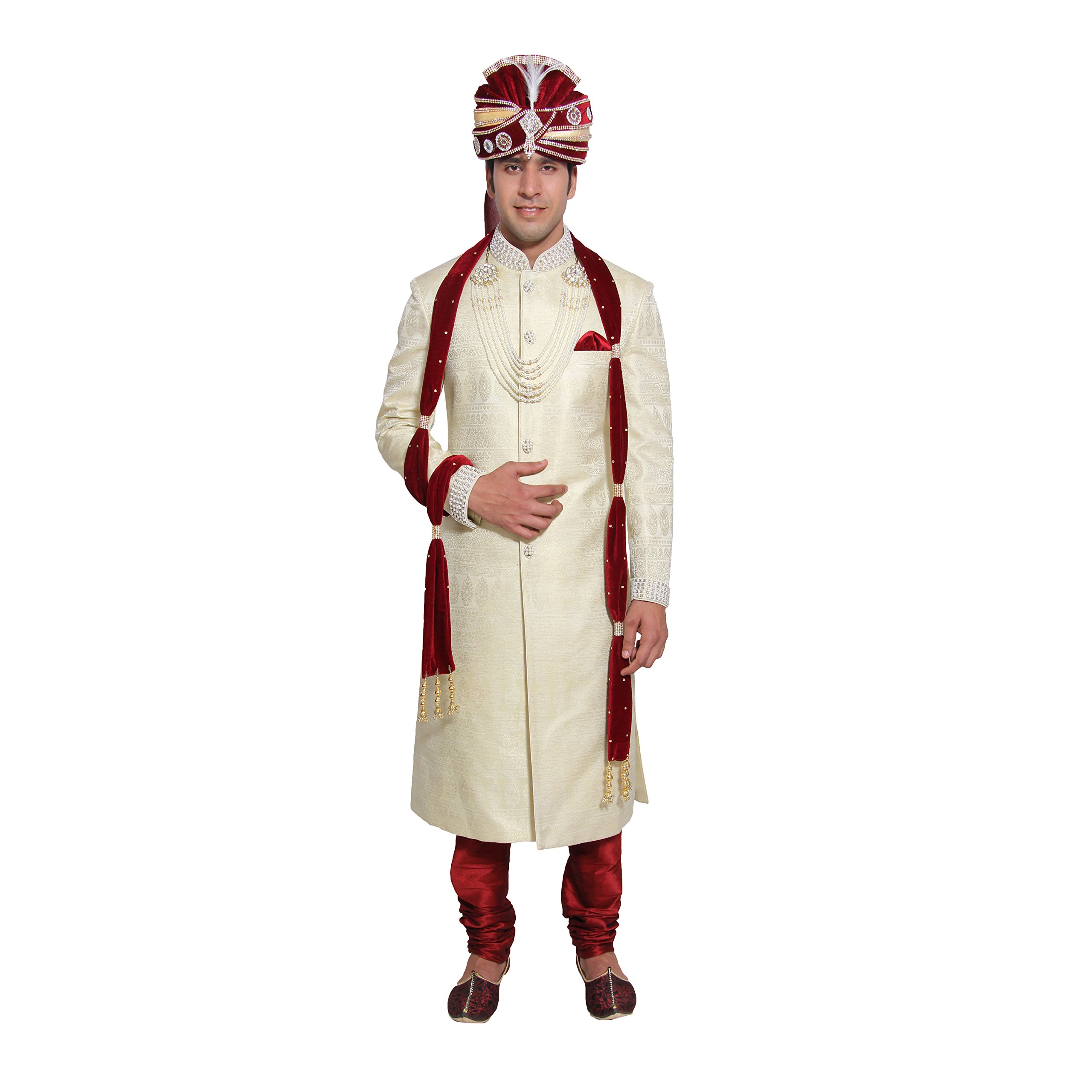 Men's Kurta Pajama Sherwani Set Traditional Indian Costume for Wedding Party Wear