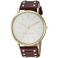 Nine West NW2056SVBY Reloj Análogo para Mujer, color Blanco/Rojo