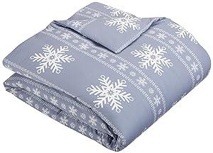 Pinzon Flannel Duvet Cover – Queen, Snowflake Dusty Blue