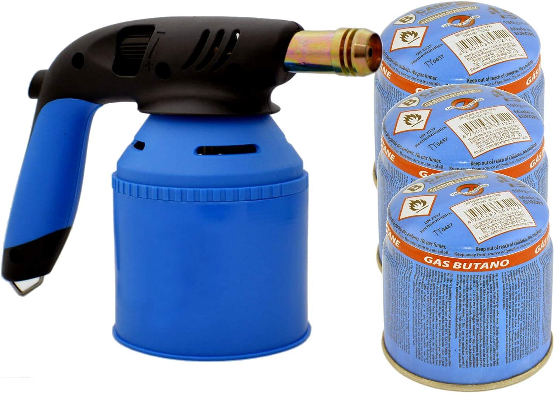 TronicXL Soplete de mano prémium para cartuchos de gas de 190 g + 3 cartuchos de gas, soplete de gas butano con encendido piezoeléctrico