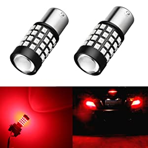 Alla Lighting 1000Lm 51-SMD Extremely Super Bright Pure Red BA15S 1141 1156 7506 P21W LED Bulbs High Power 2835 Chipsets LED Turn Signal Brake Stop Tail Lights Lamps Replacement (Set of 2)