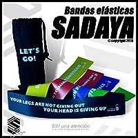 Sadaya - Bandas Elasticas Fitness/Bandas de Resistencia/Resistence Loop Bands, eBook en Español y Portugués + Bolsa, Juego de 5 Cintas elásticas con 5 Niveles de Fuerza, para Yoga, Pilates, Crossfit