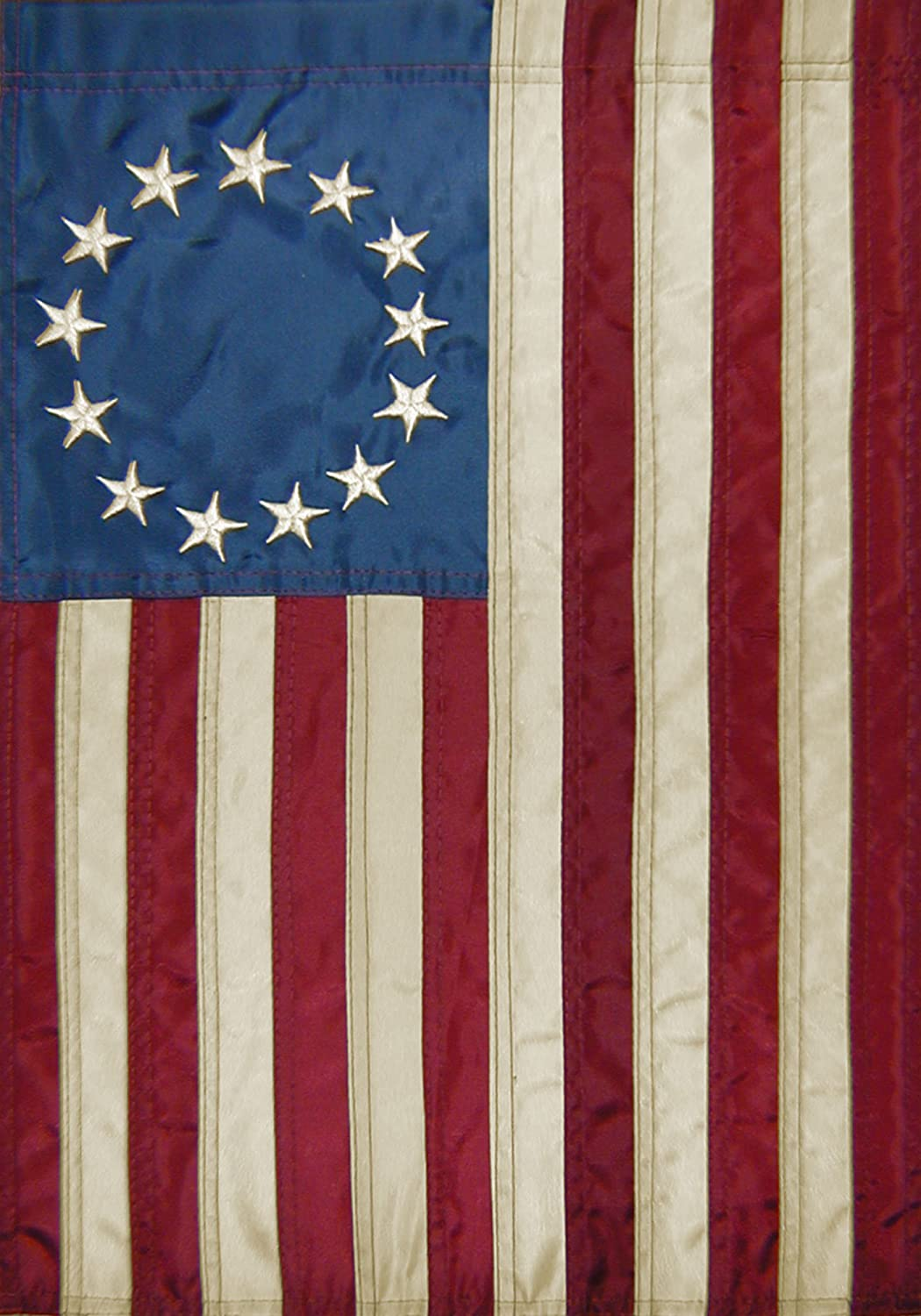 """Betsy Ross 28"""" x 40"""" Tea Stained Applique 13-Star American Banner Flag"""