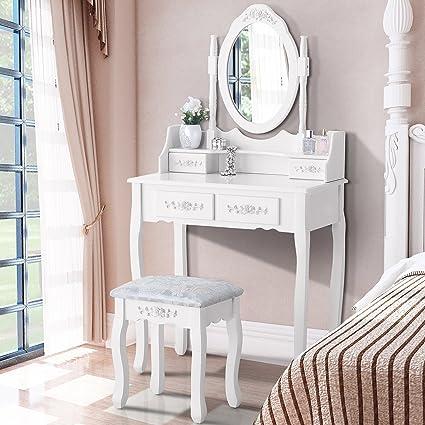 Amazon.com: Mecor Vanity Table Set Oval Mirror/4 Drawers,Wood Makeup ...
