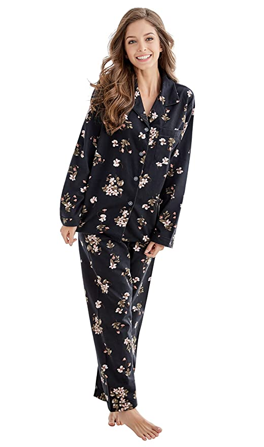 Tony   Candice Women s 100% Cotton Long Sleeve Flannel Pajama Set Sleepwear  at Amazon Women s Clothing store  a9c76838a