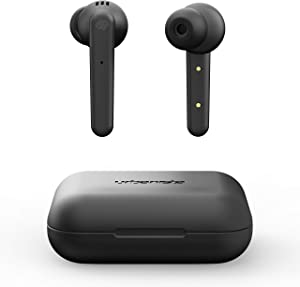 Urbanista Paris True Wireless Earphones 20H Playtime Wireless Charging Case and Bluetooth 5.0, Noise Cancelling Earphones with Touch Controls + Built-in Mic, Compatible with Android and iOS – Black