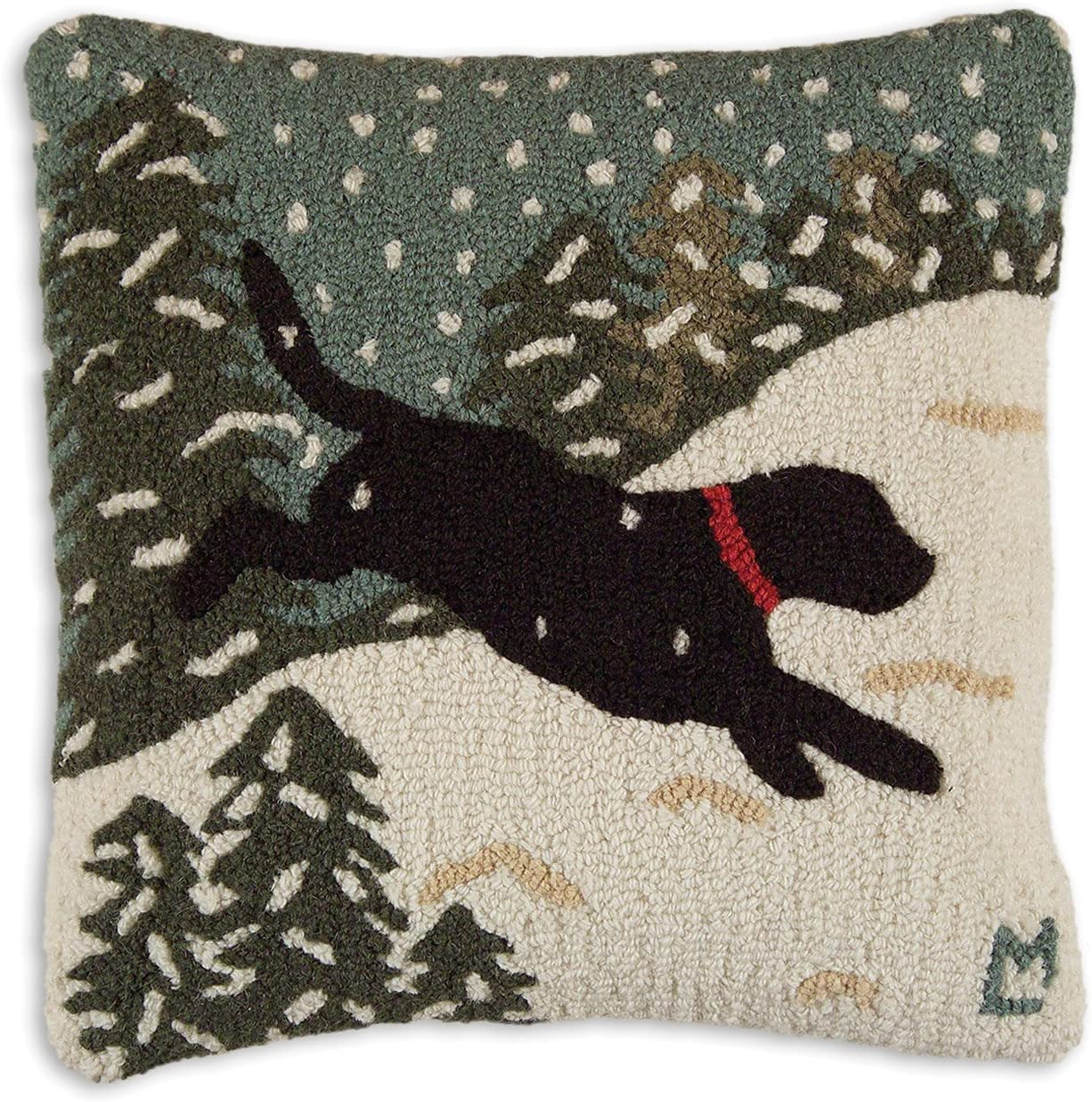 Chandler 4 Corners Artist-Designed Black Lab Dog Playing in Snow Hand-Hooked Wool Decorative Throw Pillow 18 x 18
