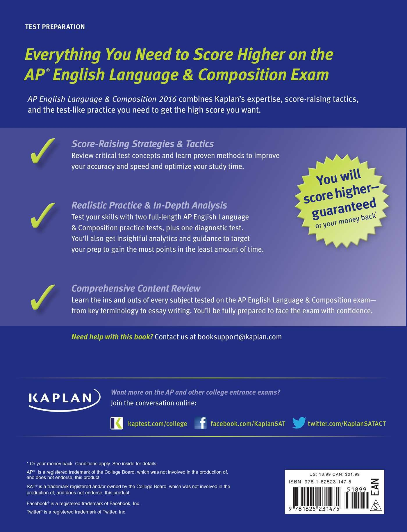com kaplan ap english language composition 2016 kaplan  com kaplan ap english language composition 2016 kaplan test prep 9781625231475 denise pivarnik nova books
