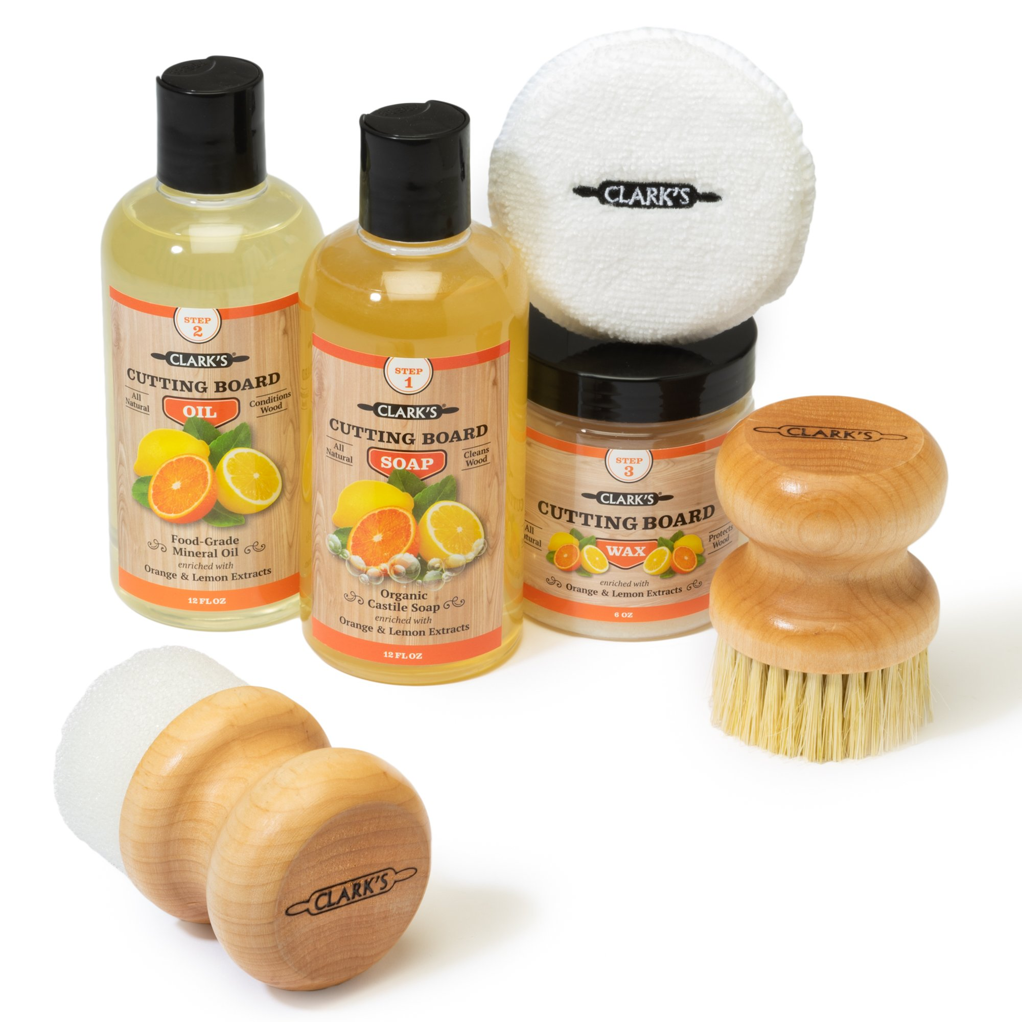 CLARK'S Complete Cutting Board Care Kit | Cutting Board Oil (12oz) - Soap (12oz) - Finish Wax (6oz) - Applicator - Scrub Brush - Finishing Pad | Orange & Lemon Scented by CLARKS